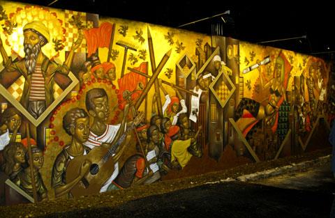 Mural by the Greek artist Stelios Faitakis.