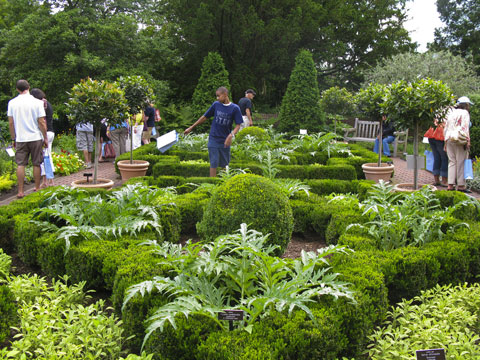 The New York Botanical Garden's Edible Garden exhibit this past summer showed many different ways that edible plants can be grown on every scale. Here, Martha Stewart's herb garden.
