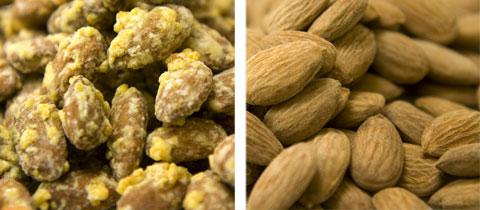 Snacks: Mandarin Almonds & Salted Almonds.