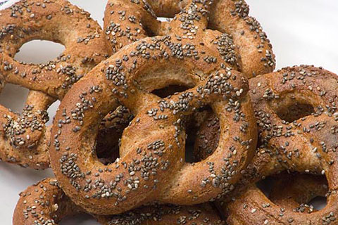 100% Sprouted Whole Wheat Pretzels with Chia Seeds.