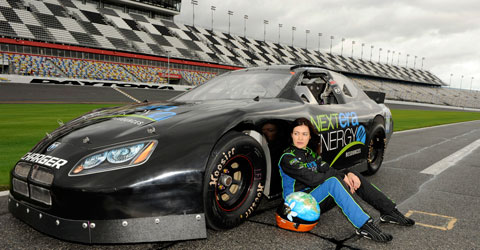 At the famous Daytona Speedway. Münter uses the advertising space on her car to spread environmental messages.