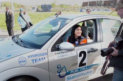 Münter in a hydrogen fuel cell Ford Focus at the start of the zero emission Viking Rally in Oslo, Norway.
