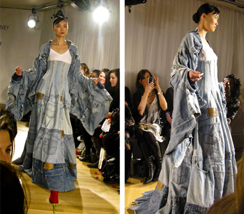 Gary Harvey's denim dress: 42 pairs of Levi 501's in various shades of indigo, cut up and reconstructed to make a tiered ball gown with a corset waist. Photos by Johanna Björk.