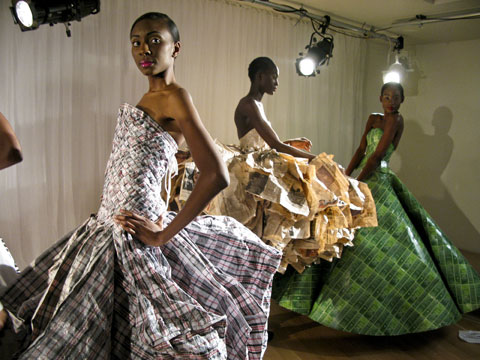 Gary Harvey's laundry bag dress, made from 21 checked=