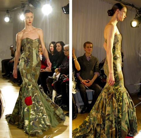 "Gary Harvey's military dress, made from 21 army jackets in various shades of green and camouflage, reconstructed into a ""fishtail"" cocktail dress. Photos by Johanna Björk."