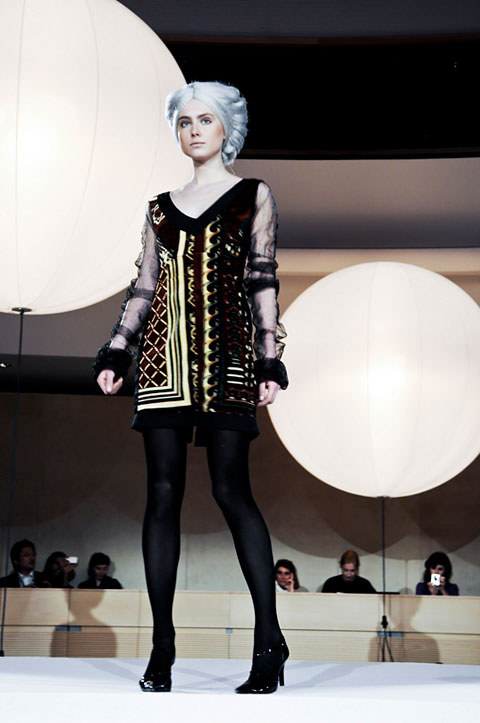 Adamah-Stein recycled prayer mat dress for EcoChic Geneva. Photo by Johann Sauty.