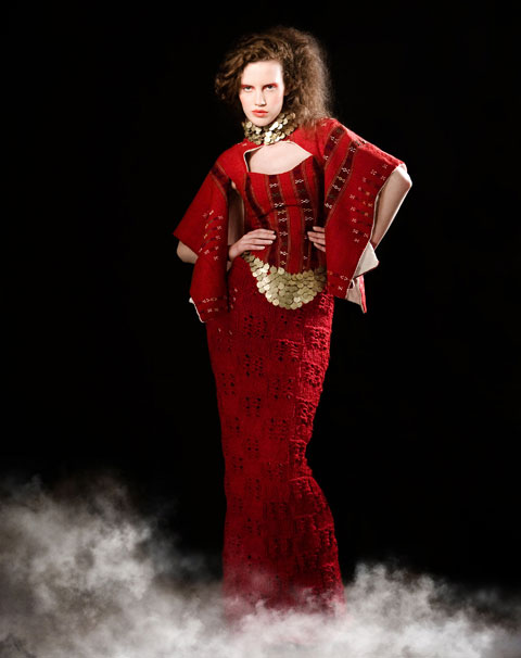 Evgeni Petkov's recycled folkloric textiles and hand-knit fashion from Bulgaria. Photo by Ivomir Peshev.