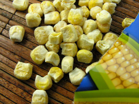 One of Sensible Foods' more unusual offerings: organic Sweet Corn. Crunch dried and surprisingly satisfying.