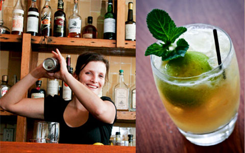 Left: Colliau tending bar. Right: the drink that started it all, the Mai Tai (recipe below).