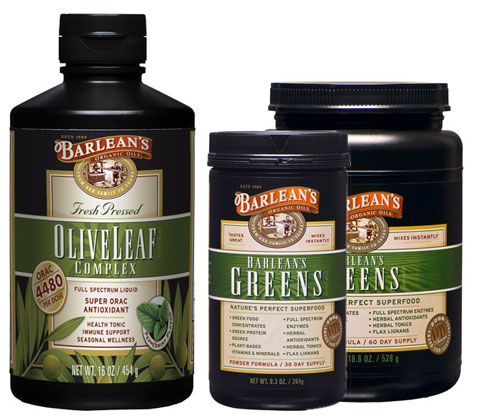 "Barlean's Olive Leaf complex & Barlean's Greens: ""nature's perfect superfood."""