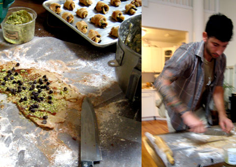 Katcher in the kitchen, making his Chocolate & Cinnamon Vegan Rugelach.