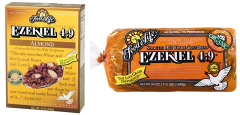 Food for Life Ezekiel 4:9 Organic Sprouted 100% Whole Grain Flourless Almond Cereal and Organic Sprouted 100% Whole Grain Flourless Bread.