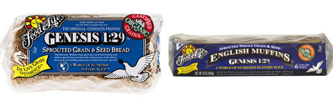 Food for Life Genesis 1:29 Organic Sprouted 100% Whole Grain & Seed Bread and Organic Sprouted 100% Whole Grain & Seed English Muffins.