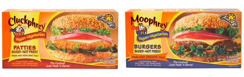Food for Life vegan meats: Cluckphrey Patties and Moophrey Burgers.