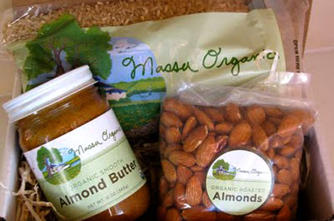 Massa Organics rice, almond butter and almonds.