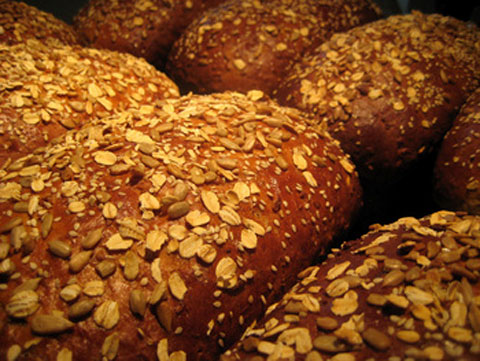 The bread that put the Red Truck Bakery on the map: a big soft loaf of our harvest wheat, full of bran, grains, golden raisins, cranberries and walnuts.