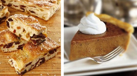 Left: fruity foccacia filled with golden raisins and cranberries and topped with turbinado sugar. Right: pumpkin pie sweetened with Red Truck's own homemade caramel sauce, which gives the pie a extra dimension and lighter texture.