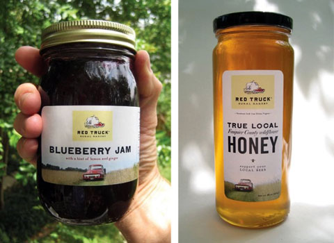 Left: The jam that started it all. Right: local raw honey from Fern Hill Apiary in Marshall, Virginia.