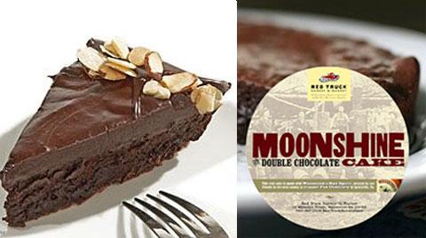 Left: intense Flourless Chocolate Truffle Cake. Right: the famous Moonshine Double-Chocolate Cake.