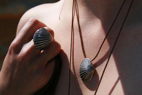 Clam ring and necklace.