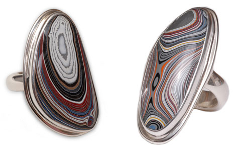 Rings made from Fordite (recycled car paint!) and recycled sterling silver.