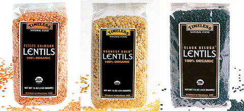 Timeless Natural Food Petite Crimson, Harvest Gold & Black Beluga lentils, all 100% organic.