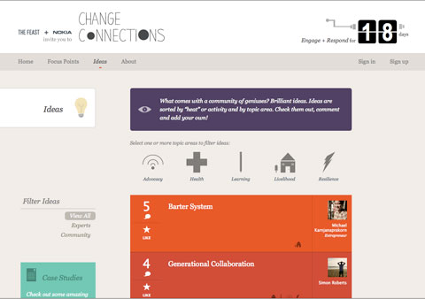 On change-connections.com, users can submit, comment on and connect ideas for solutions to some of our global issues.