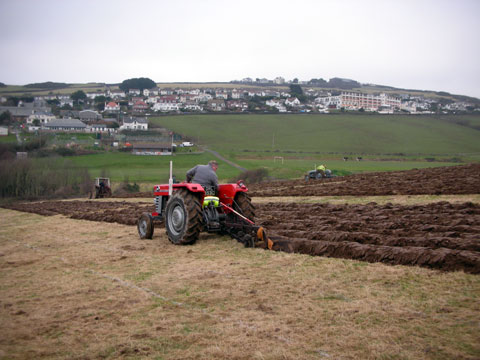 Plowing the ground to prepare the Woolacombe plots shown in the top photo.