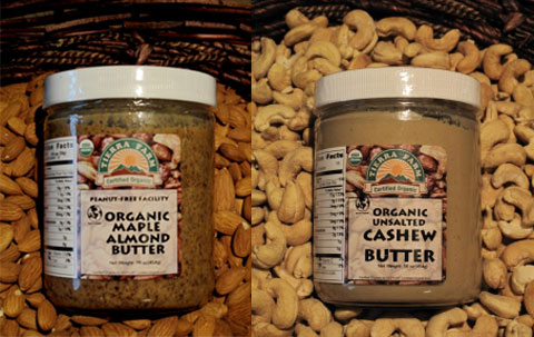 Tierra Farm's Maple Almond Butter & Unsalted Cashew Butter.