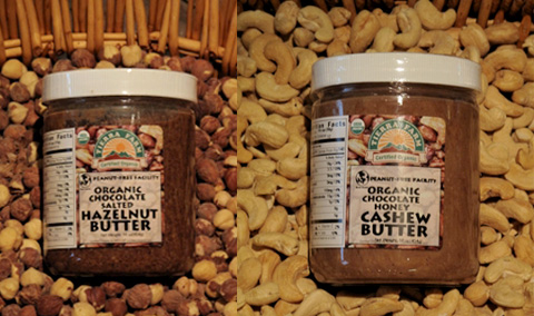 Tierra Farm's Chocolate Hazelnut Butter & Choclate Honey Cashew Butter.