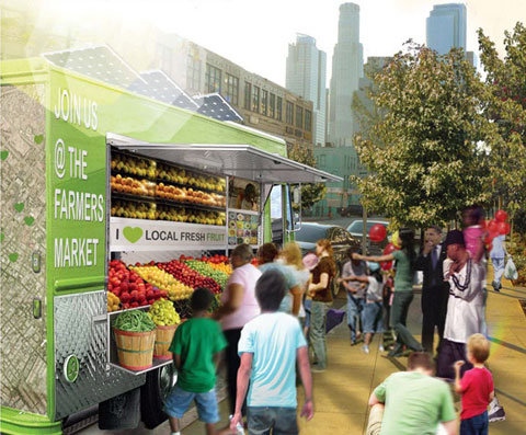 Farm on Wheels by Mia Lehrer + Associates, the winning concept of GOOD Magazine's Redesign Your Farmers Market contest.