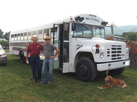 The Farm to Family truck, run by Mark Lilly (right) makes healthy local food available to people in central Virginia.