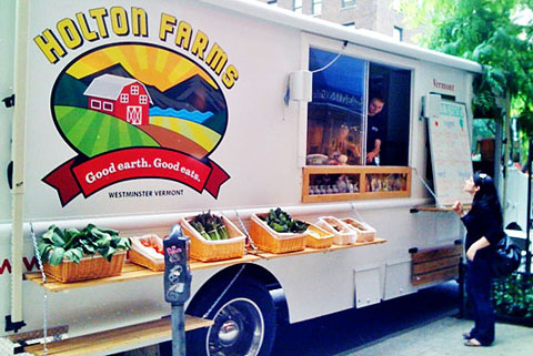 The Holton Farms truck services New York City and also offers a CSA program with drop-off points throughout the city.