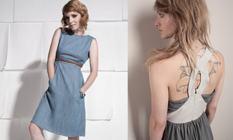 Eco denim chambray dress by Elroy & tencel dress by Thieves.