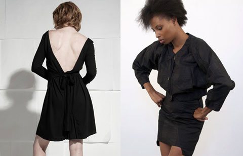Backless bamboo dress by Elroy & black dress by Osei Duro + Women's Co-Op.