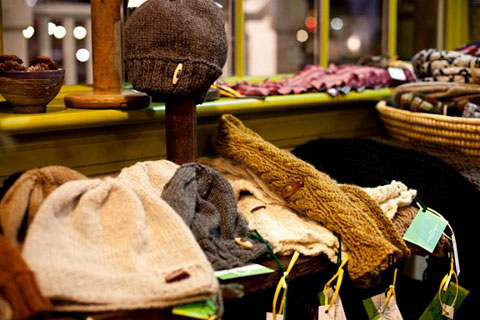 Handmade knits and sustainable goods at Shift boutique.