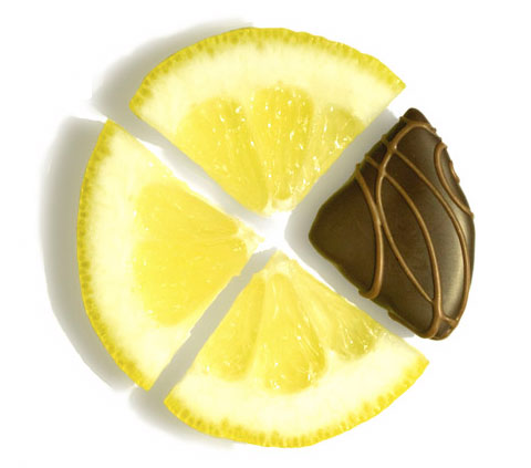 These organic lemon slices are candied slowly (over 25 days) using a traditional European method to preserve the intense lemon flavors. The slices are then quartered and enrobed in all-natural dark chocolate.