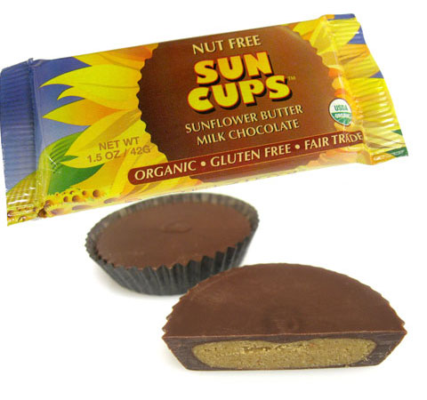 Sun Cups are available in milk chocolate and dark chocolate varieties.