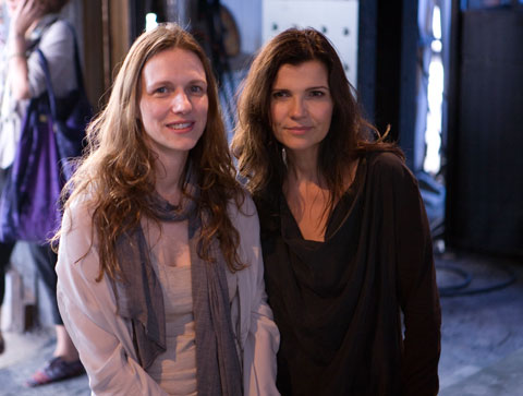 Sharon Wauchob &amp; Ali Hewson after the show that took place during New York Fashion Week, under the High Line in Chelsea. Photo by Johanna Bjrk.