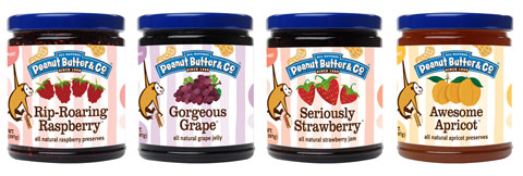 Goodlifer: Peanut Butter & Co Rip-Roaring Raspberry Preserve, Gorgeous Grape Jelly, Seriously Strawberry Jam & Awesome Apricot Preserve.