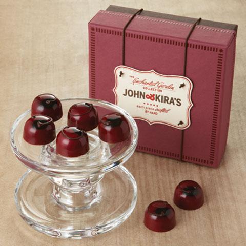 John & Kira's Chocolate Cherries consist of dark red tart cherry and rich, dark 62% ganache.