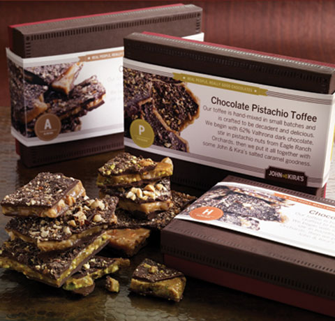 John & Kira's buttery toffees are hand-mixed in small batches and made with real butter and sugar. They come in almond, hazelnut & pistachio flavors.