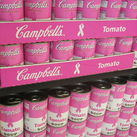 Pink cans from Campbell's. While their soups may not cause cancer, the high levels of sodium contribute to heart disease and unhealth.