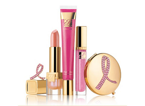 A selection of Estee Lauder's pink ribbon products.