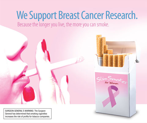 While this is not a real campaign, it represents the pinkwashing dilemma: does supporting breast cancer research make up for toxic products?