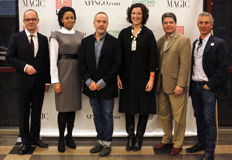 "Panelists at Afingo's ""Behind The Seams"" event at FIT included Simon Colling, Dean of Fahion at Parsons, [...], John Patrick, Designer of Organic by John Patrick, Carolyn Priebe, Product Development Manager at Loomstate and Rogan, Paul Raven, Chief Sustainability & Marketing Officer at AirDye, and Anthony Lilore, Board Member of Save the Garment Center."