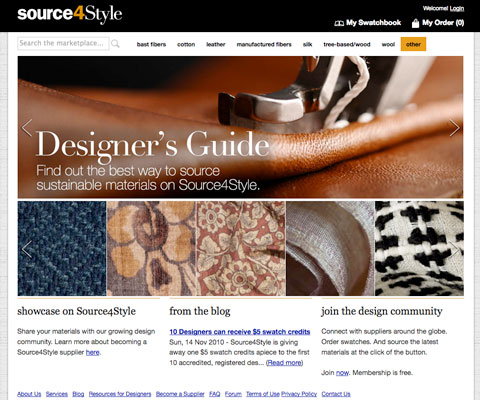 Source4Style is a great resource for designers looking to use more sustainable materials.