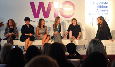 "The ""Dressing and Addressing"" panel with, from left to right, Diane Von Furstenberg, Sheila Johnson, Tamara Mellon, Lauren Bush and Glenda Bailey. Moderated by Donna Karan."