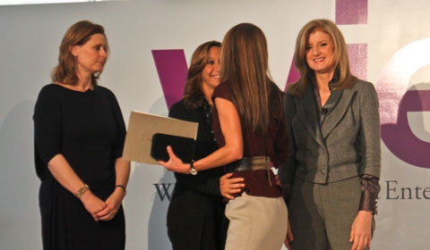 WIE Symposium co-hosts Sarah Brown, Donna Karan and Arianna Huffington with special guest Queen Rania of Jordan.