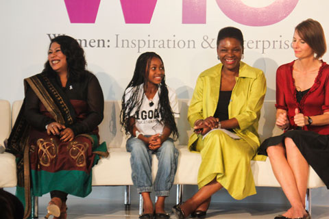 Philanthropy and Advocacy panelists included, from left to right, Aparajita Gogoi, Nthabiseng Tshabalala, Baroness Amos and Maria Eitel.
